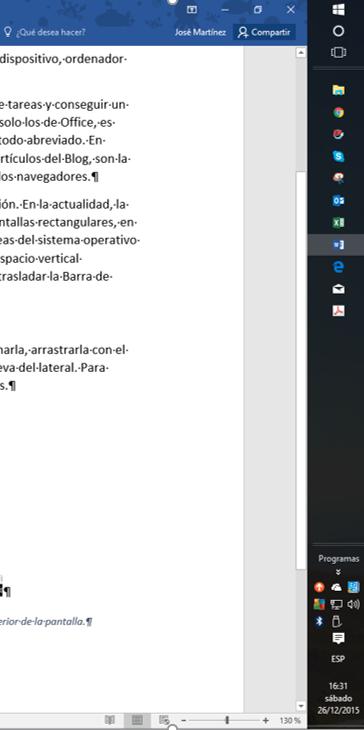 Barra de tareas del sistema operativo