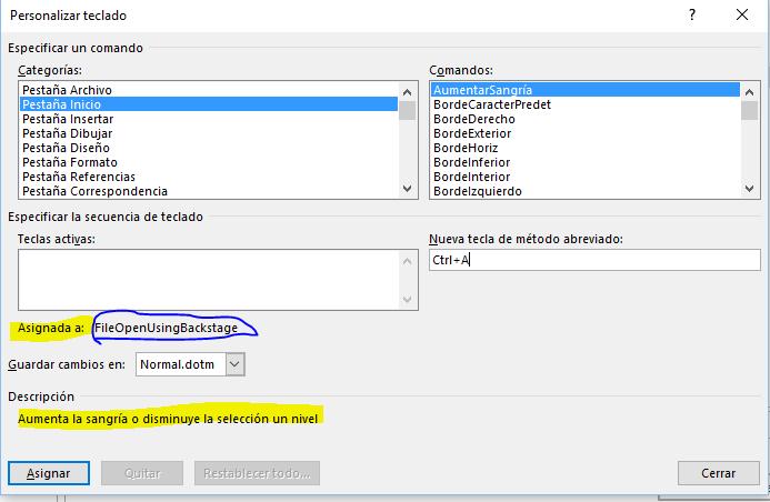 Atajos de teclado. El cuadro de diálogo Personalizar teclado mostrando las asignaciones de Nueva tecla de método abreviado.