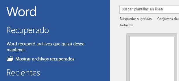 Advertencia de archivos recuperados para abrir el Panel de recuperación, al iniciar Word