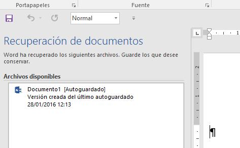 Archivos de recuperación. El Panel de recuperación muestra el documento recuperado después de un cierre inesperado de Word