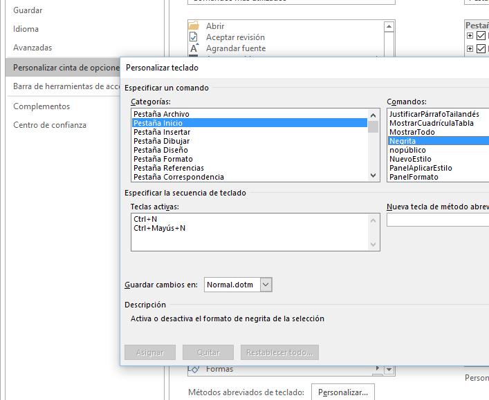 Atajos de teclado. El cuadro de diálogo Personalizar teclado sobre Personalizar la cinta de opciones.