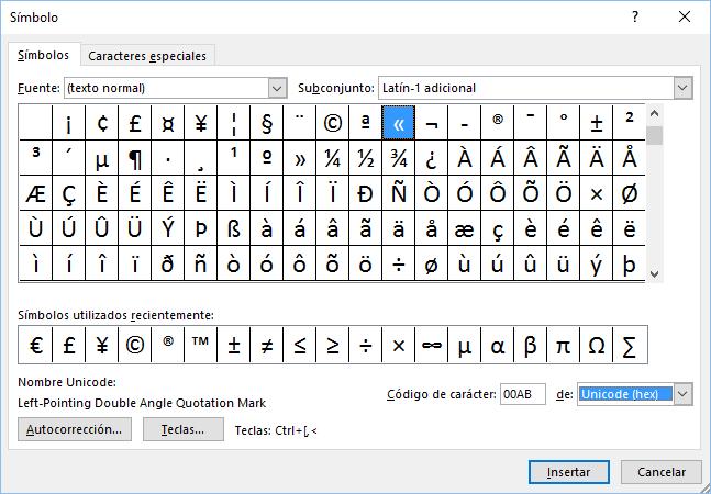 El cuadro de diálogo Símbolo mostrando los códigos y atajos de teclado de las comillas españolas