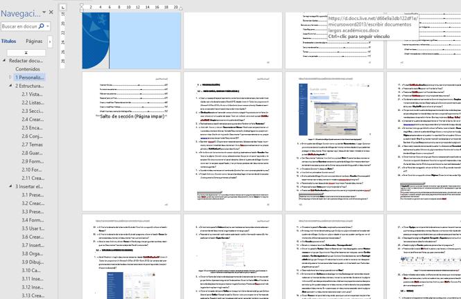 Muestra una vista de varias páginas de un documento formateado con estilos