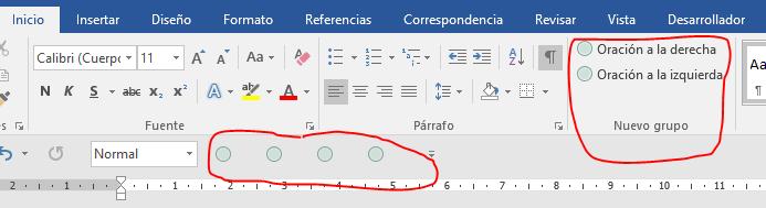 Muestra los comandos Oración anterior y siguiente y extender selección frase anterior y siguiente en la cinta de opciones y en la barra de herramientas de acceso rápido