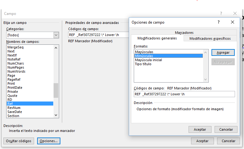 Muestra las modificaciones en el código del campo para que aparezca en minúscula