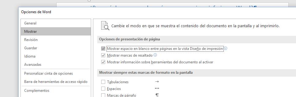 Muestra las opciones de presentación de página de la ficha Mostrar