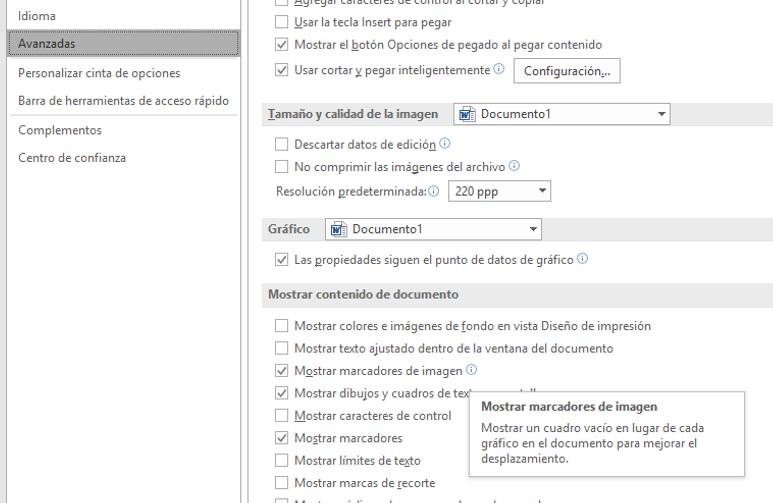 El cuadro Opciones Avanzadas en Mostrar contenido del documento