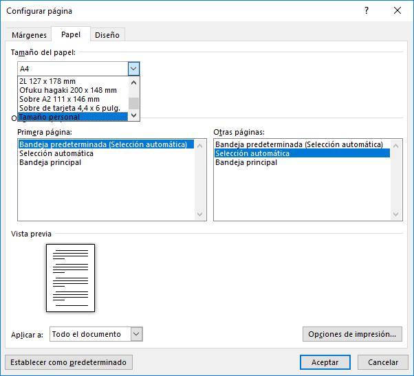 El cuadro de diálogo Configurar página con su ficha Papel para elegir un tamaño personalizado.