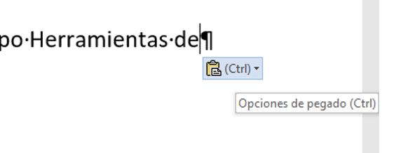 Muestra el botón Opciones de pegado y su Método abreviado (atajo) de teclado, después de pegar algo.