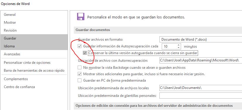 Muestra las opciones de guardar documentos