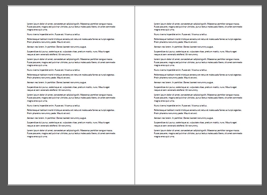 Imprimir dos hojas por página. El resultado final es un documento en A4, orientado horizontal, repitiendo nuestro texto. Al cortar quedan dos A5. Igual resultado se obtiene si partimos de un A3.