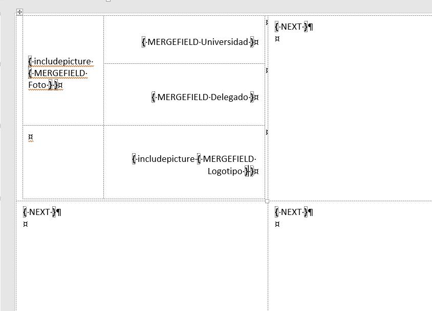 Insertar imágenes en combinación de correspondencia. Muestra los campos de combinación ya colocados para realizar la combinación de correspondencia con imágenes