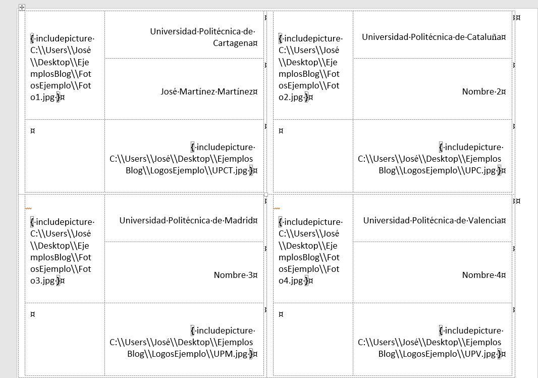 Insertar imágenes en combinación de correspondencia. Combinación de correspondencia finalizada