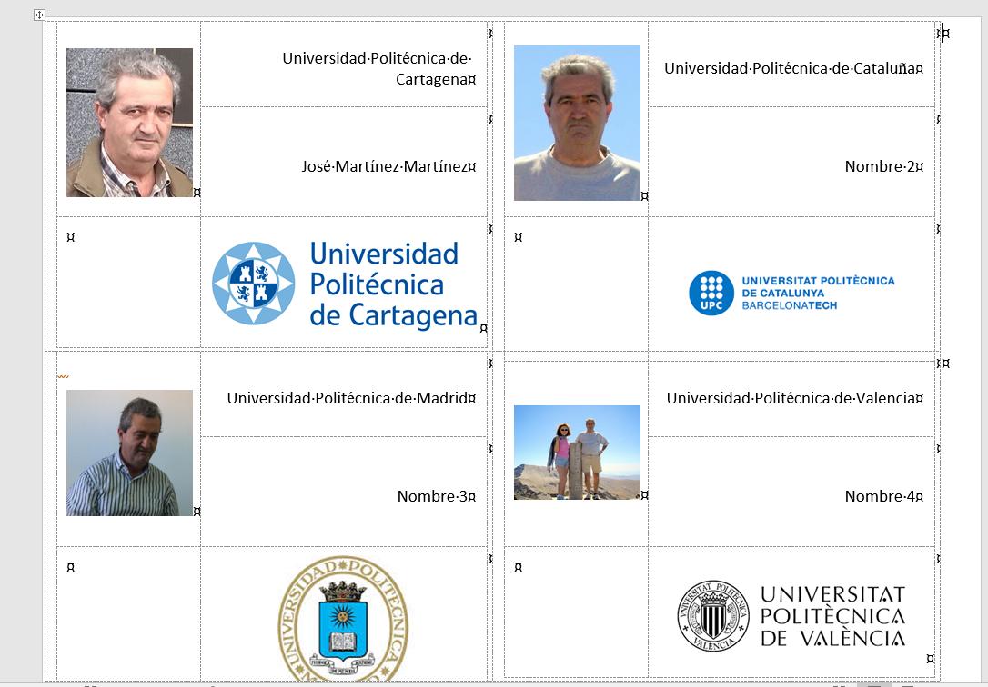 Muestra el resultado final de la combinación de correspondencia con las cuatro tarjetas de asistencia personalizadas con la foto del delegado y el logotipo de la Universidad