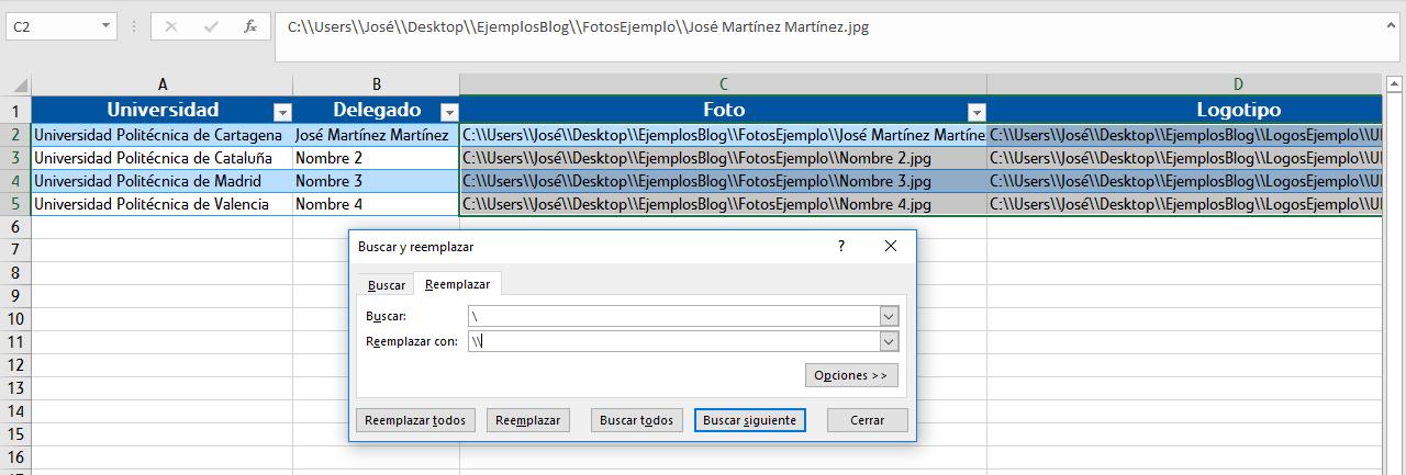 La base de datos para combinar doblando las barras invertidas