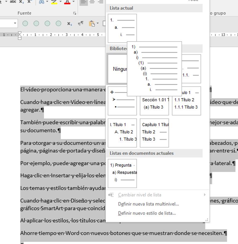 Muestra la Galería de estilos de lista, a la que se accede desde Inicio > Párrafo > Lista multinivel