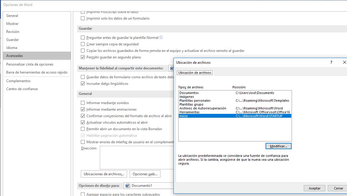 Ubicación de archivos. Muestra el apartado General de las Opciones avanzadas de Word con el cuadro Modificar