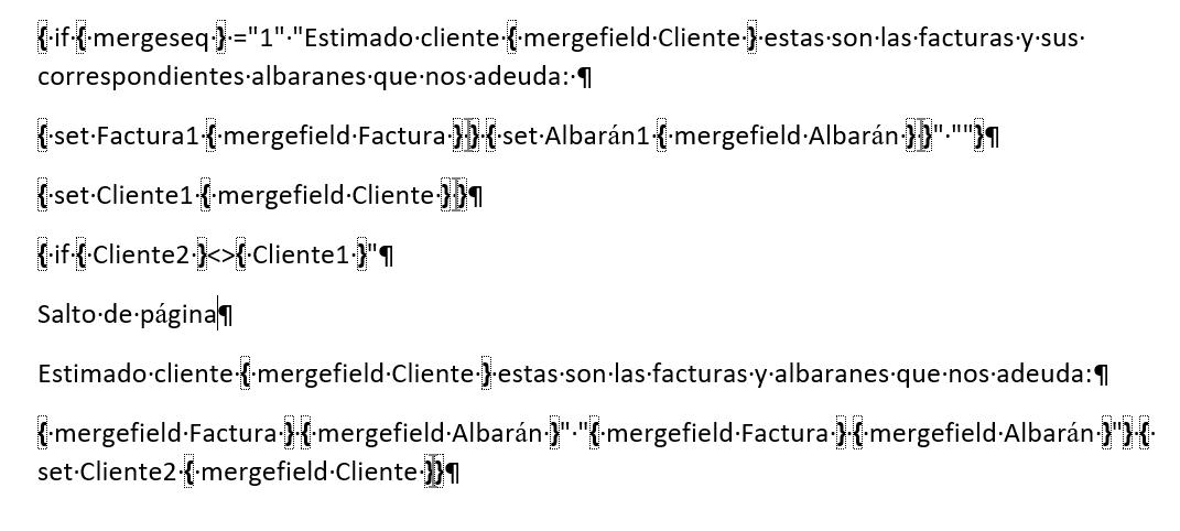 Agrupar varios registros en la misma carta. Muestra los campos editados para conseguir la agrupación de registros en la combinación de correspondencia.