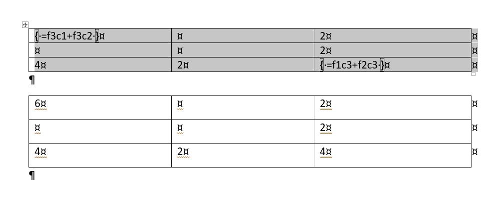 Insertar fórmulas en una tabla. Dos ejemplos de sintaxis correcta con el método de referencia R1C1.