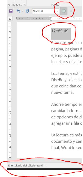 Hacer cálculos con Word. Ejemplo de uso del comando calcular, añadido a la Barra de herramientas de acceso rápido