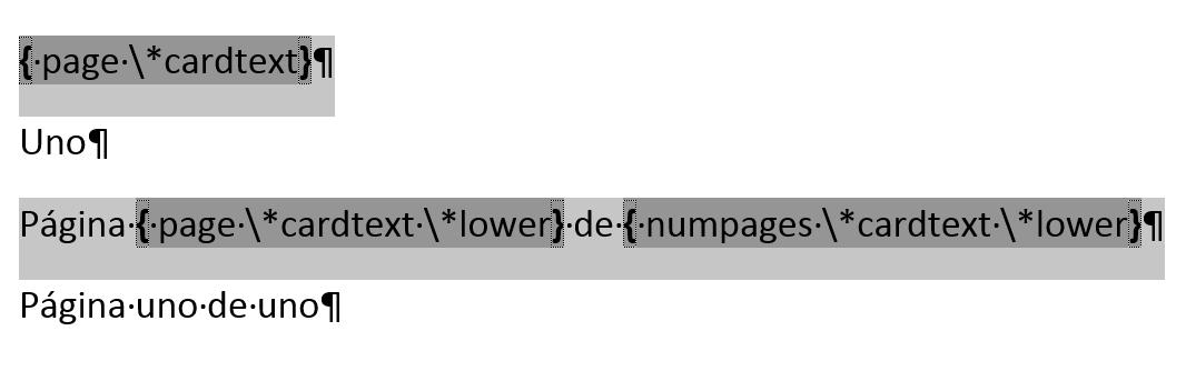 números de página con letras. Muestra los códigos de campo y los modificadores para numerar páginas con letras