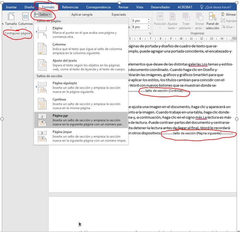 Salto de página impar. Muestra cómo insertar un salto de sección de página impar