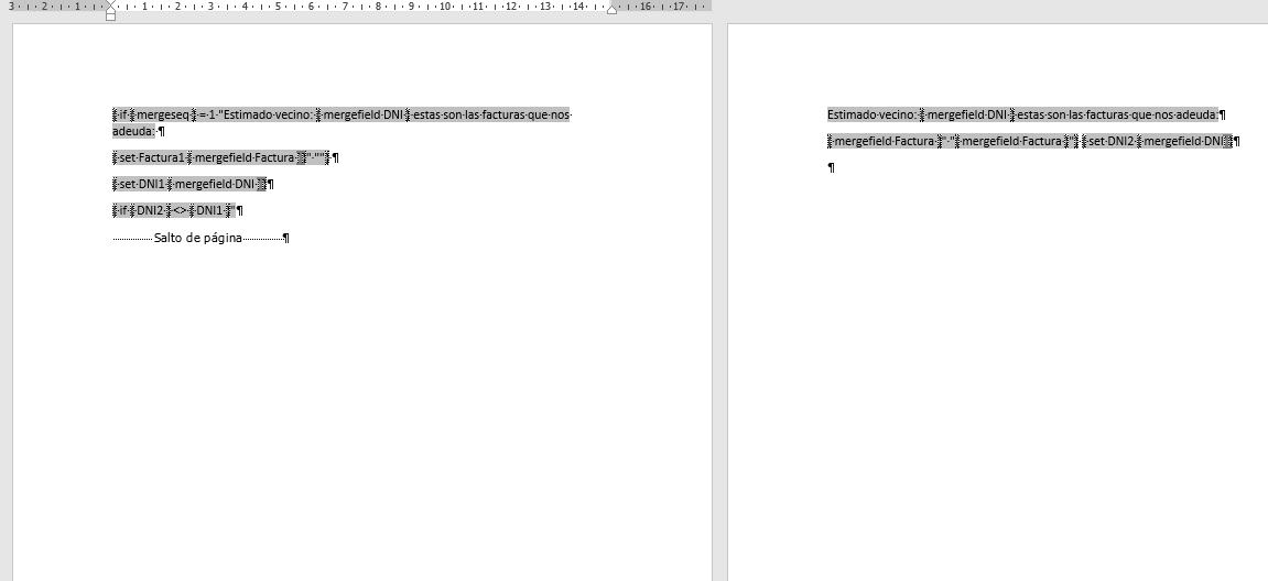 Combinar varios registros en una sola carta. Documento preparado para combinar todas las facturas de cada DNI en la misma página