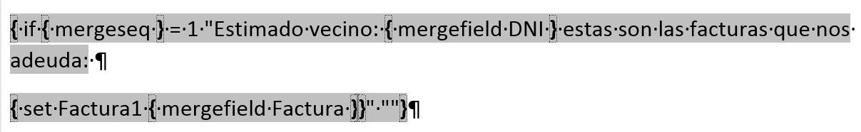 Combinar varios registros en una sola carta. Campo condicional de combinación de correspondencia