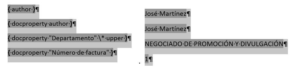 Algunos ejemplos de uso del campo DocProperty. Muestra el código y el resultado