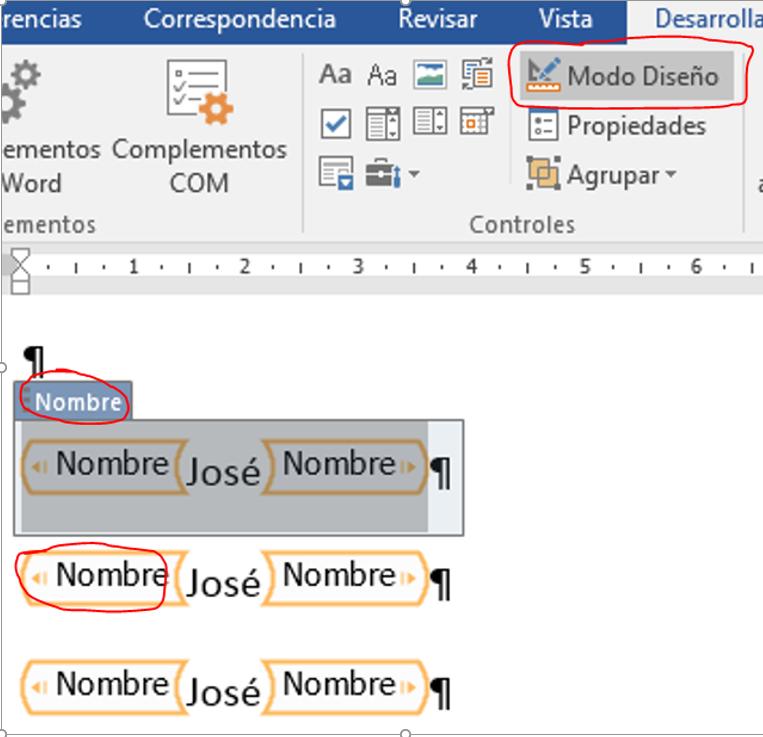 control de contenido Abstracto. Muestra un ejemplo de control de contenido en Modo Diseño, con la ruta y un ejemplo.