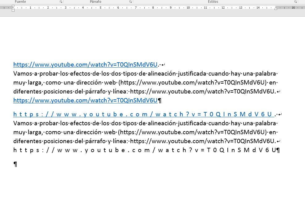 Alineación horizontal Distribuir párrafo.