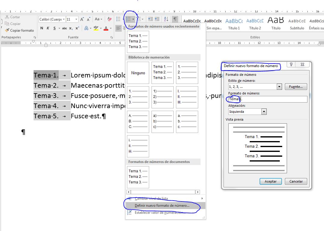 Formatos de numeración personalizados. Muestra la ruta y el resultado de un formato de numeración personalizadop