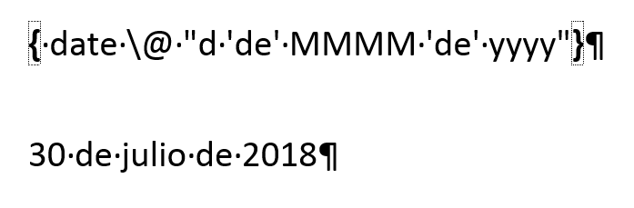 Muestra un ejemplo de formato de fecha personalizado con los códigos y sus valores