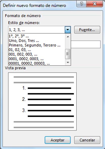 Muestra los estilos de numeración para las listas integrados en Word
