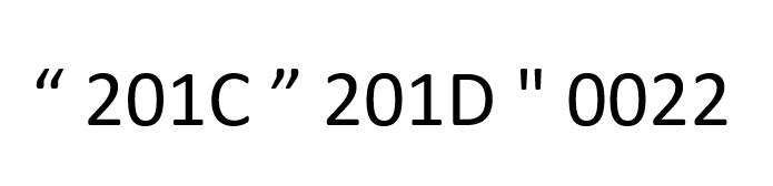 Muestra los tres caracteres para las comillas inglesas y sus códigos en Unicode hexadecimal