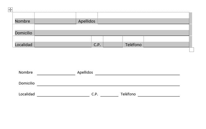 Es el resultado de crear una tabla para hacer formularios. Con las cuadrículas y sin ellas para ver el resultado final