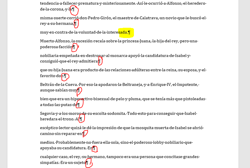 Ejemplo de texto pegado de un pdf con errores en los párrafos