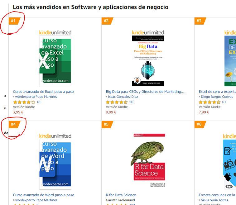 Muestra los libros más vendidos en Amazon en la categoría Software y aplicaciones de negocio