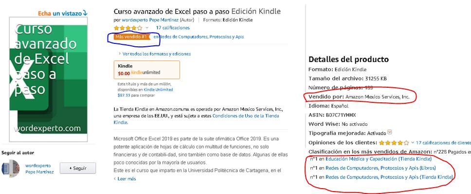 Pantallazo de los libros más vendidos, en su categoría en Amazon México
